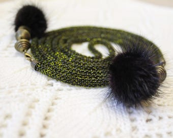 long necklace seed bead jewelry lariat mink pompon beaded necklace green seed bead rope spiral rope necklace beadweaving beadwork bead cord