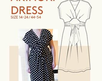 Kimono wrap dress PDF pattern for sewing|Plus size pattern PDF dress for women|Curvy size dress pattern|Elegant dress PDF sewing pattern