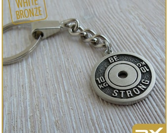 Bodybuilding keychain Thank you gift Barbell Keychain Be strong Exercise Fitness gift Weight plate Motivation gift Sport mum Muscle