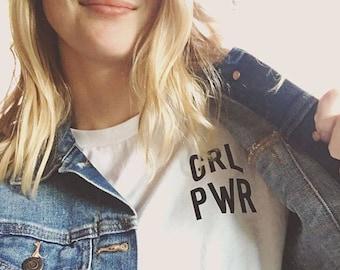 GRL PWR Shirt Ladies T-shirt, Ladies V-neck Tshirt, Feminist Shirt, Feminism Shirt, Tees Flowers Strength Girls Female Tees Girl Power Shirt