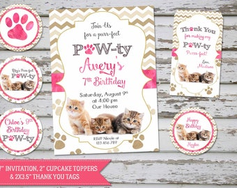 Kittens Birthday Invitation, Cat Birthday Invitation, Kitten Party Cute Kittens, Pawty Invitation, Kittens toppers, Kittens favor tags, DIY