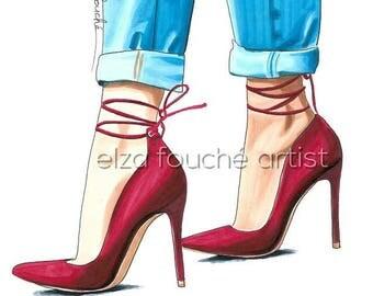 Fashion art illustration shoes