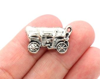 8 Pcs Wagon Charm Coach Charm Antique Silver Tone 24x14mm - YD0055