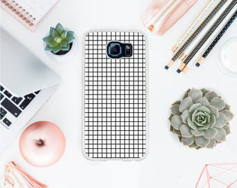 Valentines day grid phone case for Samsung S8 white grid case for Samsung S7 gift for hipster 90' kid gift for her gift for him OT58