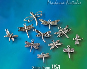 Dragonfly Charm Collection (11), Antique Silver Tone Dragonfly Charms, Dragonfly Bracelet Charms, Insect Charms, Collection of Charms