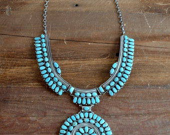 Navajo Large  Sterling Silver and Turquoise Cluster Necklace Signed JW