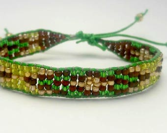 Brown and Green Adjustable Patterned Beaded Bracelet