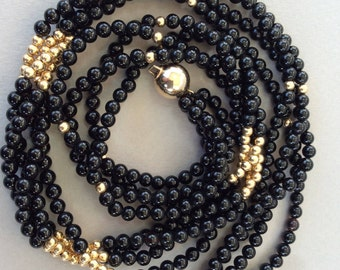 Beautiful 14k Gold Bead and Onyx Necklace