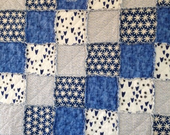 Country Quilt, Country Throw, Homemade Quilt, Handmade Lap Quilt, Rag Quilt Throw, Rag Quilt, Handmade Blanket, Live Laugh Love, Blue White