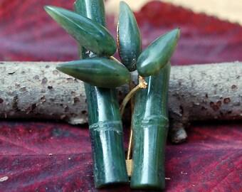Vintage Bamboo Design Jade Pin/Brooch