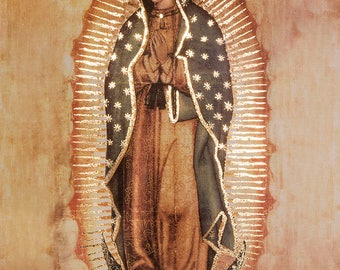 27x39inches REPLICA OF ORIGINAL Our Lady of Guadalupe Virgin Mary with golden Accents