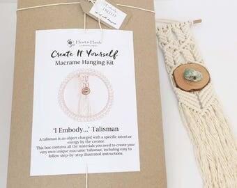 macrame wall hanging KIT with amazonite crystal || macrame kit || diy wall hanging || inspirational gifts || diy kit || ' I Embody... TRUTH'