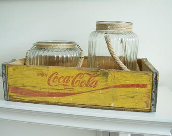 Yellow Coca Cola Crate - Coca Cola Wooden Crate - Rustic Wooden Crate - Coca Cola Advertising - Vintage Wooden Crate - Vintage Coca Cola