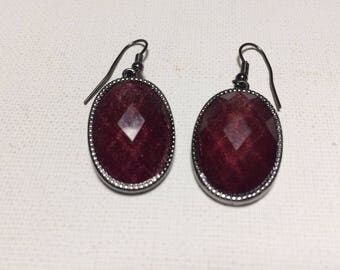 Red Drop Earrings, Maroon Earrings, Dark Red Earrings, Vintage Red Earrings, Red Dangle Earrings, Vintage Jewellery, Gift for Her.