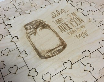 MASON JAR-- 50 piece Puzzle Guest Book -- Wedding Guest Book Puzzle + Instructions Sign - Guest Book Alternative - Wedding Puzzle - D2-R-153