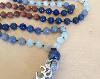 Aquamarine, Lapis, Moonstone, and Sandalwood Mala Necklace, 108 Mala Beads, Yoga Gift, Prayer Beads, Meditation Necklace