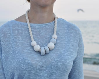 Ceramic long massive necklace - Sea collections - Light blue necklace - Boho jewelry - Gift for woman - Cotton cord jewellery White and blue