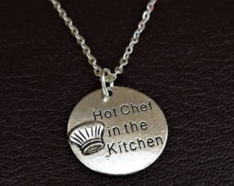 Hot Chef in the Kitchen Necklace, Chef Necklace, Chef Charm, Chef Pendant, Chef Jewelry, Chef Gifts Women, Chef Gifts, Cooking Necklace
