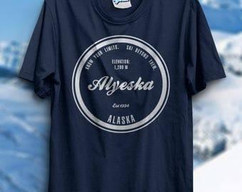 Alyeska Shirt Alaska  Ski Resort TShirt Skiing Gift Idea Snowboarding Holiday Family Vacation Memories Snow Winter Mountain Park For Him