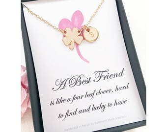 Friendship necklace, best friend gift, Four leaf clover necklace, Message card jewelry, gift for best friend , MCJGFSBEST1