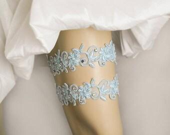 Light Blue Beaded Lace Wedding Garter Set, Crystal Garter,Bridal Garter Set,Keepsake Garter, Toss Garter, Customizable Handmade-GT046