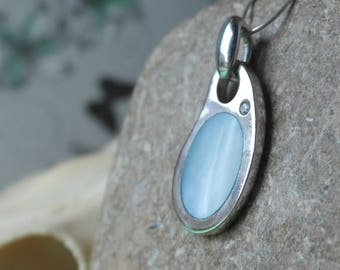 Vintage Sterling Silver CZ and Blue Mother Of Pearl Pendant Necklace