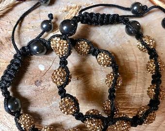 SALE - Shamballa, bracelet women, bead bracelet women, womens gift, macrame bracelet, protection bracelet, hematite bracelet ,golden