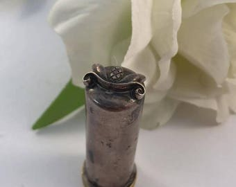 Beautiful Silver Antique Lipstick Tube-Filigree Design on the Top