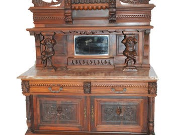 Striking French Antique Buffet or Server, Jester or Joker Carvings, circa 1900 #7824