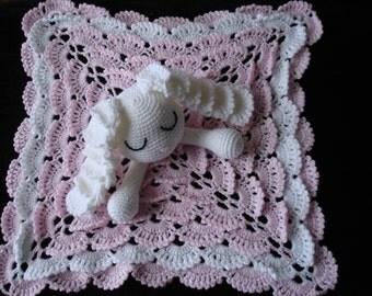 Sleepy Bunny Security Blanket crocheted in 8 ply Acrylic Yarn