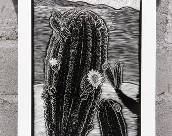 Burin Print, Cactus at the Beach, Los Cabos, South California landscape, Nature, Flower.
