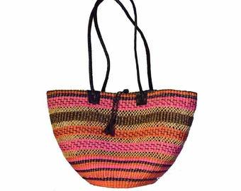 Ladies Fair Trade Hand Woven Basket Bag (Pink Brown)