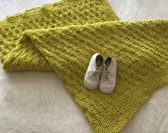 Lime green baby blanket, hand-knit