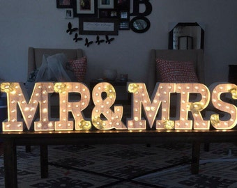 Mr. & Mrs. marquee letters