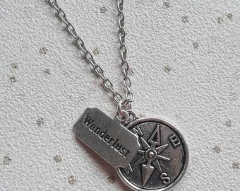 wanderlust necklace travel compass friendship bbf gifts