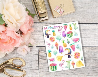 Summer Deco! - set of 32 stickers for your Erin Condren, Inkwell Press, Happy Planner or other calendar or planner!