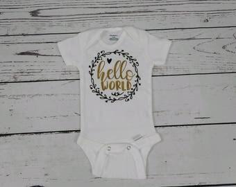 baby onesie/newborn baby/newborn onesie/hello world/hello world onesie/baby gift/new baby gift/baby shower gift/onesie