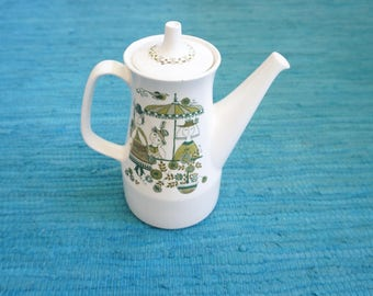 Coffeepot, Scandinavian service Turi - design Market by Figgjo Flint Norway, green, vintage ca 1970. Low price due to wear