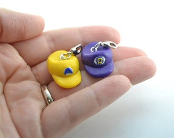 Wario and Waluigi Personalized Initials  BFF charms, keychain or necklace. MarioBros. Video game BFF chamrs