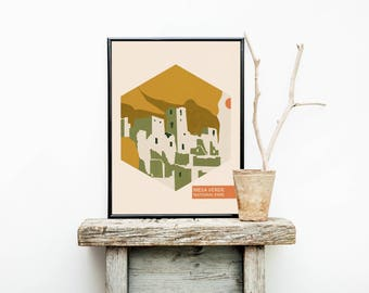 National Park Poster – Mesa Verde National Park - Hiking Travel Poster Vintage - Wedding Gift – New Mexico - Minimalist Poster – Wanderlust