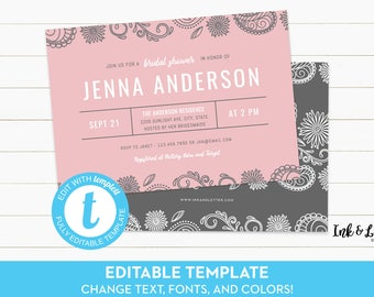 Paisley Bridal Shower - Customizable Bridal Shower Invitation - Templett Bridal Shower Invitation - Blush Bridal Shower - Blush and Gray