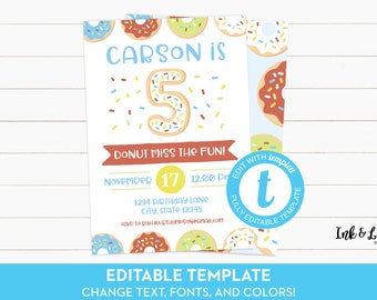 Doughnut Fifth Birthday - Boy Donut Party Invitations - 5th Birthday - Editable Birthday Invitation - Printable Invitation - Templett