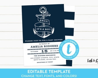 Ahoy Its a Boy Baby Shower Invitation - Nautical Baby Shower Invitation - Anchor Baby Shower Invitation - Navy and White - Printable Shower