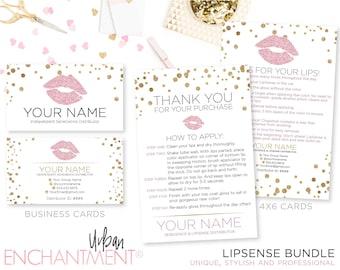 Custom LipSense Business Cards - White Confetti - Senegence - Lip Sense Business Card