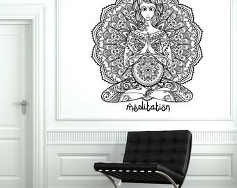 Wall Vinyl Decal Oriental Yoga Mandala Indian Tattoos Style for Meditation Room (#2737dn)