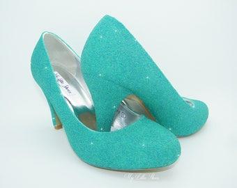 Tiffany blue heels etsy bridal shoes blue glitter low heels wedding bridesmaid prom graduation junglespirit Gallery
