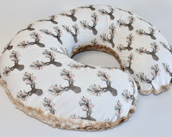 READY TO SHIP -small deer heads and fawn  - nursing pillow cover, woodland nursery, gender neutral , girL, boy