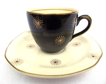 "Alfred Meakin Demitasse Coffee Cup and Saucer Duo, Midnight Star, Black, White, Gold, 85ml Capacity, Immaculate 2.5"" x 4.5"""
