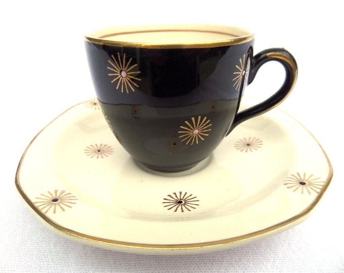 "FREE SHIPPING Coffee Cup and Saucer Duo, Alfred Meakin Demitasse, Midnight Star, Black, White, Gold, 85ml Capacity, Immaculate 2.5"" x 4.5"""