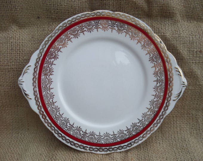 FREE SHIPPING Cake Plate, English Bone China, Sandwich Platter, Gladstone China, Crimson Red & Gold, 1939-61, Immaculate Unused